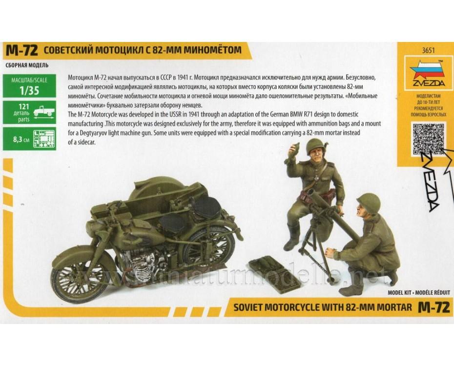 1:35 M 72 Soviet motorcycle with 82 mm mortar , kit, 3651, Zvezda by www.miniaturmodelle.net