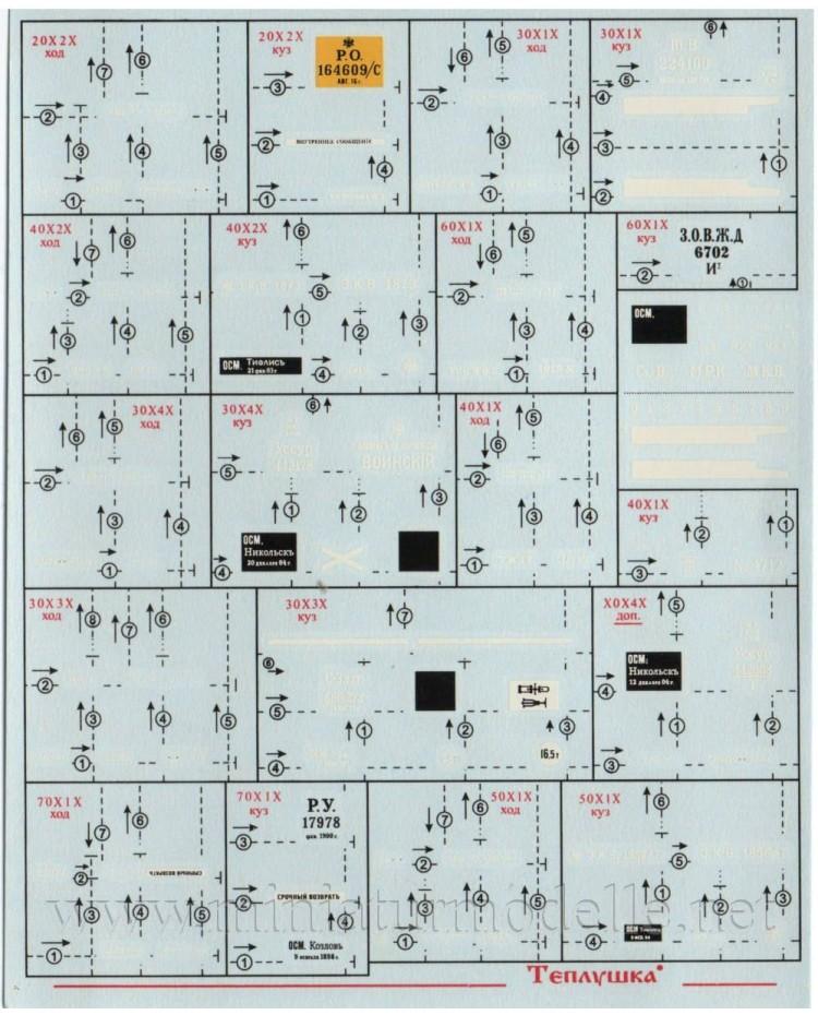 1:87 H0 Abziehbilder für Güterwagen CCCP, 1-2 Epoche