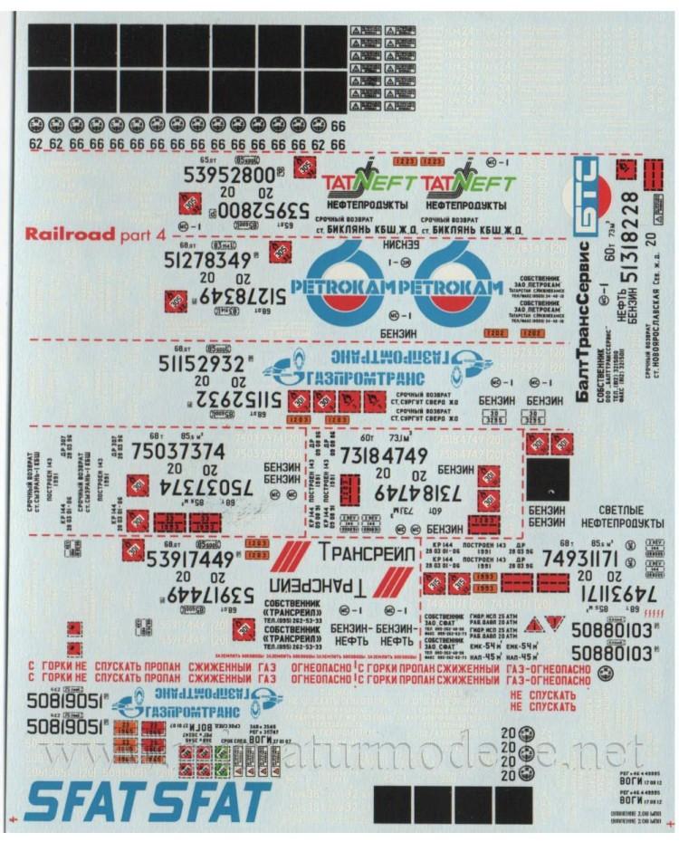 1:87 H0 Abziehbilder für Güterwagen SZD RZD, 4-5 Epoche