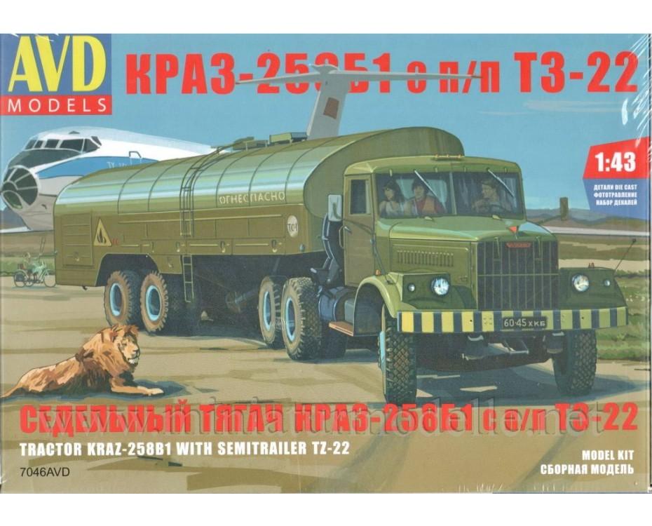 1:43 KRAZ 258 Zugmaschine mit Tanksattelauflieger TS 22, Militär, Bausatz