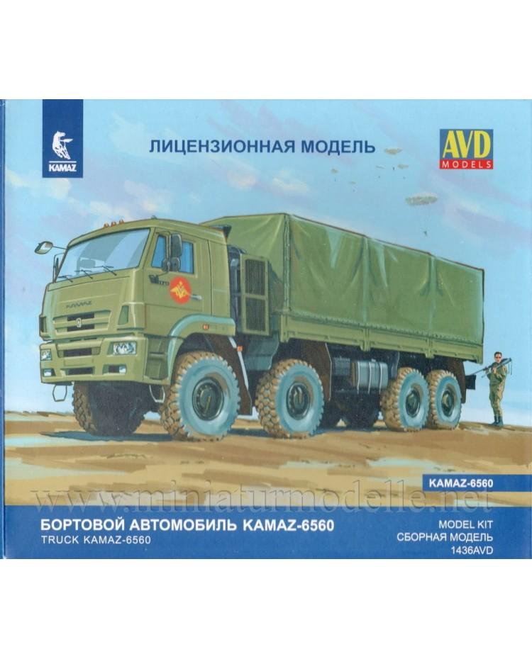 1:43 KAMAZ 6560 Load platform canvascover, military kit