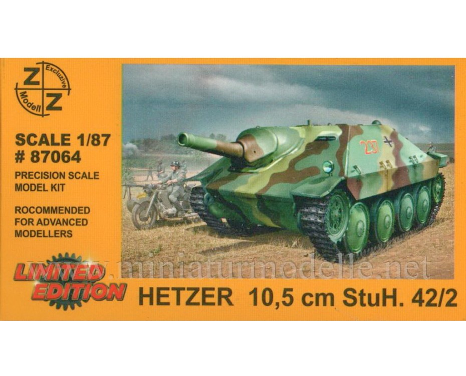 H0 1:87 Hetzer tank destroyer with 105 mm Stuh 42/2 gun, military, small batches model