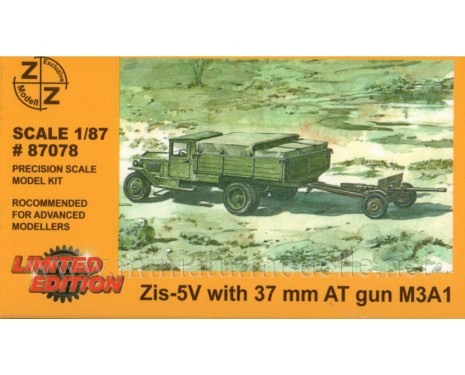 H0 1:87 ZIS 5V truck with 37 mm anti tank gun M3A1, military