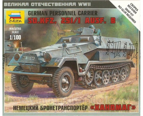 1:100 Sd.KFz. 251/1 Ausf. B German personnel carrier Hanomag
