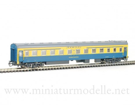 1:120 TT 2060 Long-distance sleeping car type Ammendorf of the Moskau - Kenigsberg Express yellow blue livery, RZD era 5