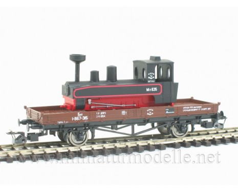 1:120 TT 3231 Low side board car with narrow-gauge locomotive ML of the CCCP livery, brown, era 3
