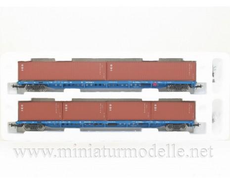 1:87 H0 Container wagon set mod. 13-1281-01, brown, RZD, 5. era