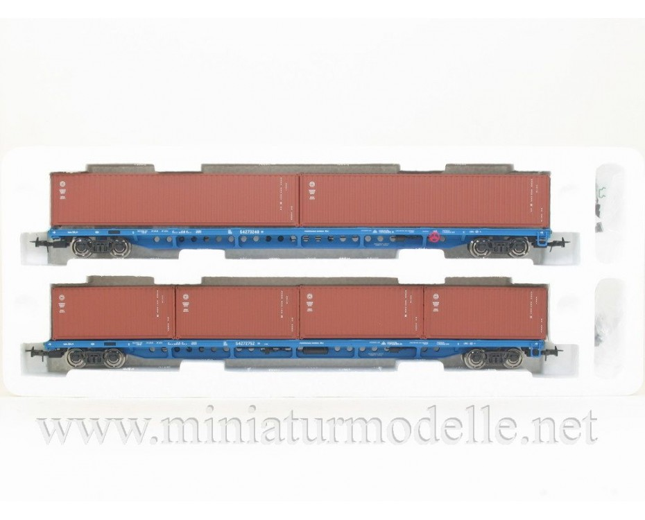 1:87 H0 Container wagon set mod. 13-1281-01, brown, RZD, 5. era