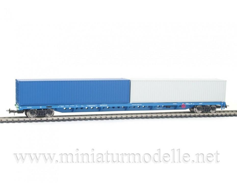 1:87 H0 1012 Container wagon set mod. 13-1281-01, blue - grey, RZD, 5. era