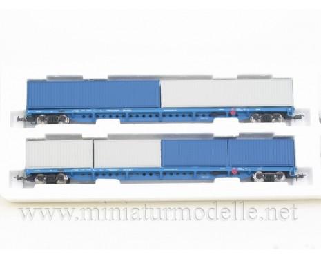 1:87 H0 1012 Containerwagenset mod. 13-1281-01, blau- grau, RZD, 5. Epoche