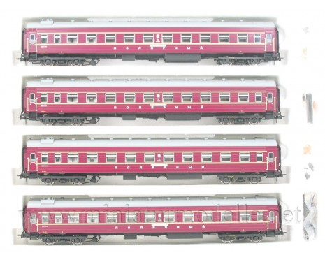 1:87 H0 0241 Express couchette coach car set 4 pcs. of the Polarny livery, CCCP, era 4