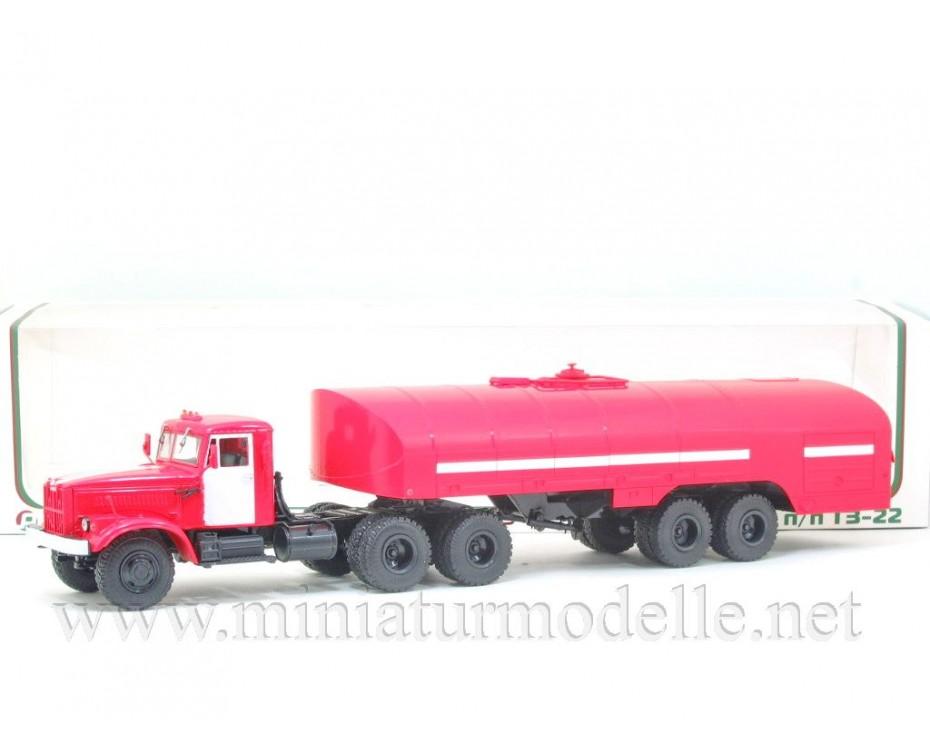 1:43 KRAZ 258 Zugmaschine mit Feuerwehr Tanksattelauflieger TZ 22 FW