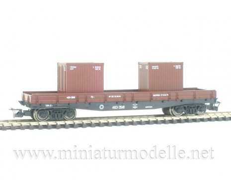 1:120 TT 3653 Low side board car with container load of the CCCP livery, brown, era 4