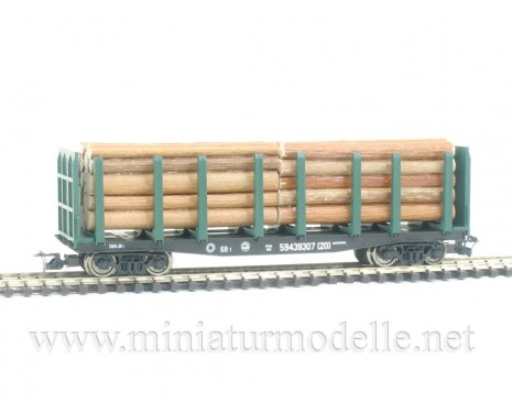 1:120 TT 3816 Factory-owned stake car for timber transport with front walls of the RZD livery, era 5