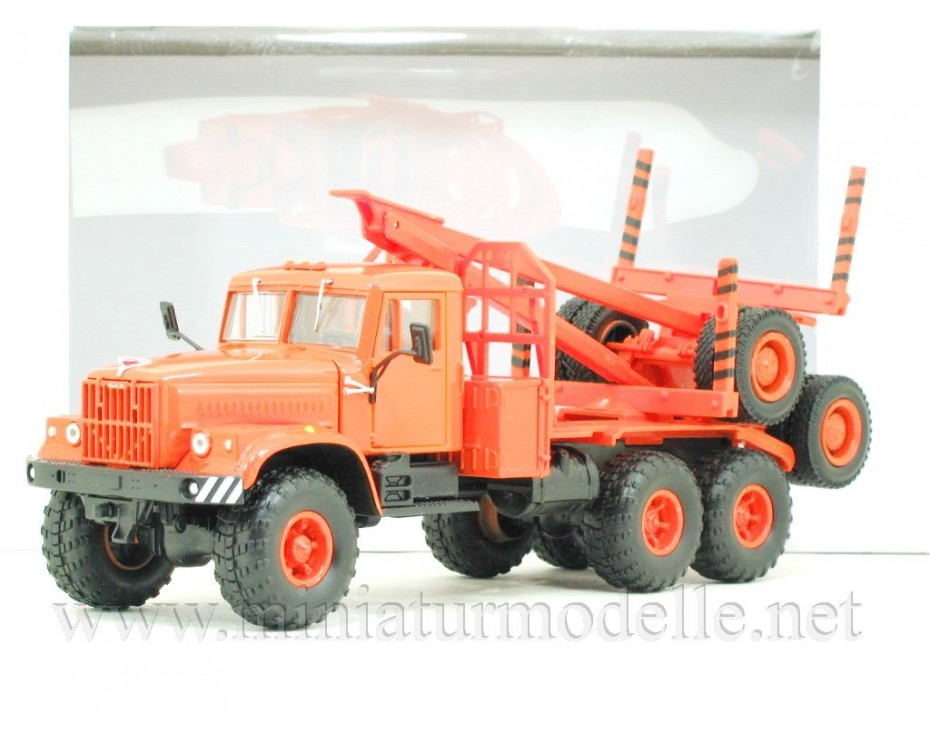 1:43 KRAZ 255 L1 Holztransporter mit Rungen-Anhänger