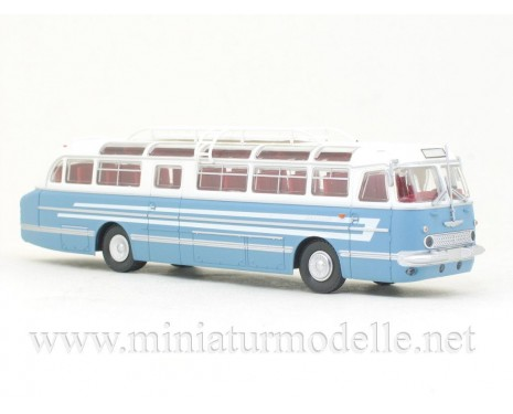 H0 1:87 Ikarus 55 mit Dachrandverglasung und Dachträger blau / weiss