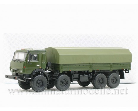 1:43 KAMAZ 6350 Mustang load platform with canvas top, military