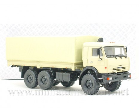 1:43 KAMAZ 43118 load platform with canvas top, beige military