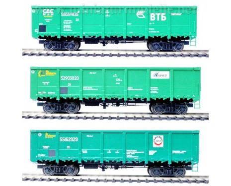 1:87 H0 Offener Güterwagenset 20204s Bauart 12-296-01 der RZD, 5 Epoche