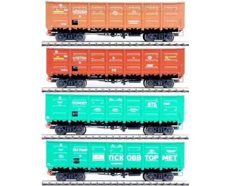 1:87 H0 Offener Güterwagenset 20301s Bauart 12-132 der RZD, 5 Epoche