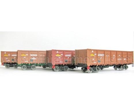 1:87 H0 Offener Güterwagenset 20401s Bauart 12-132 RT der RZD, 5 Epoche