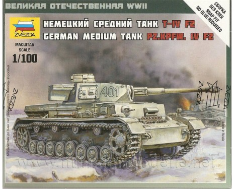 1:100 Pz.Kpfw. IV F2 mittlerer deutscher Panzer