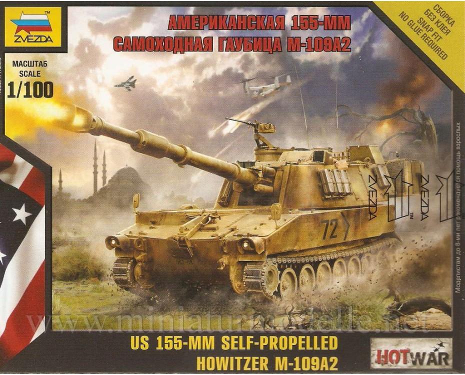 1:100 M-109A2 US 155-mm self-propelled howitzer, 7422, Zvezda by www.miniaturmodelle.net
