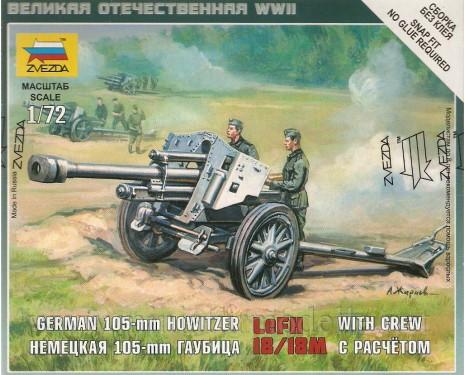 1:72 LeFH 18/18M deutscher 105-mm Haubitze mit 3 Figuren