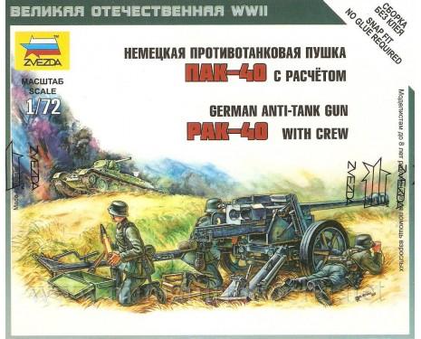 1:72 PAK-40 deutscher Panzerabwehrkanone mit 3 Figuren