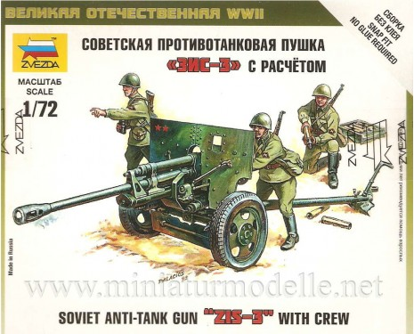 1:72 ZIS-3 sowjetischer Panzerabwehrkanone mit 3 Figuren