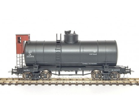 1:87 H0 Kesselwagen 50t mit Bremserstand zum Transport von Erdöl der CCCP, schwarz 2. Epoche, Kleinserie