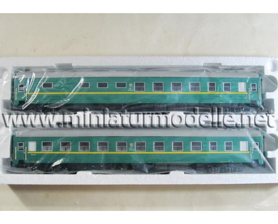1:87 H0 0220 Weitstrecken- Büfett- Schlafwagen Typ Ammendorf Wagenset 2 St., grün, SZD 4 Epoche