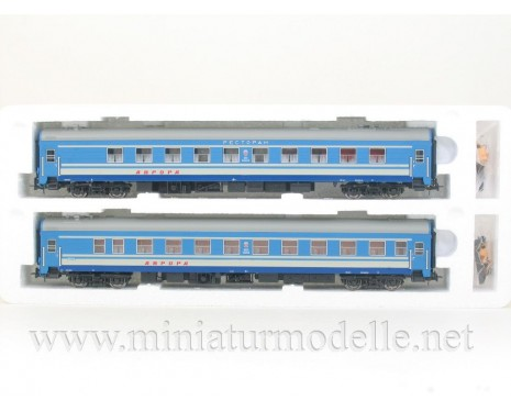 1:87 H0 0232 Long-distance restaurant and sleeping car set 2 pcs. type Ammendorf of the CCCP blue livery, era 4