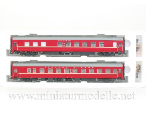 1:87 H0 0231 Long-distance restaurant and sleeping car set 2 pcs. type Ammendorf of the CCCP red livery, era 4