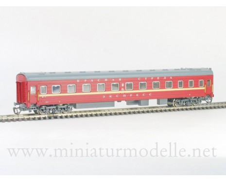 1:120 TT 2021 Long-distance sleeping car type Ammendorf of the SZD maroon Krasnaja Strela Express livery, era 4