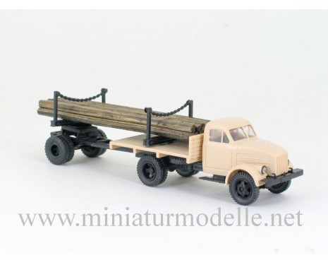 1:87 H0 GAZ 51 with lumber trailer 1R3
