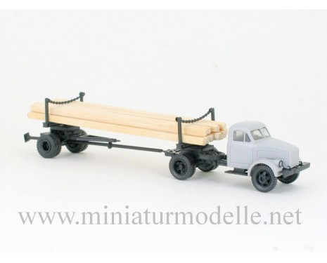 1:87 H0 GAZ 51 with long lumber trailer 1R3-6