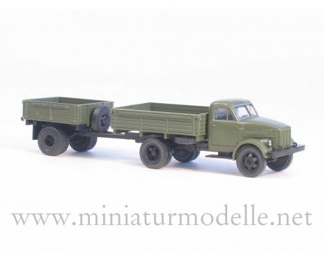 1:87 H0 GAZ 51 open side with open side trailer 1AP military