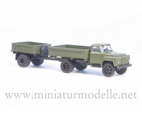 1:87 H0 GAZ 52 open side with open side trailer 1AP military