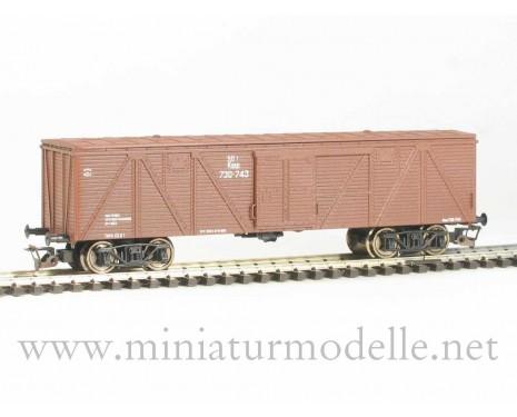 1:120 TT 3510 Single door wood box car of the SZD livery, brown, era 3