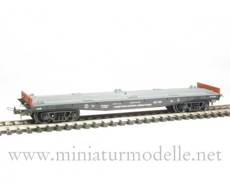 1:87 H0 471 63t. flat wagon without containers, #422-6318, CCCP, 4 era